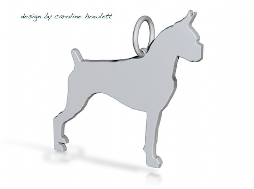 Boxer dog croped and docked pendant sterling silver handmade by saw piercing Caroline Howlett Design